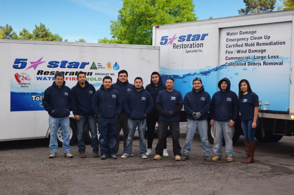 5 Star Restoration Specialists 10 years of experience helping with fire, mold, and water damage
